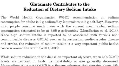 Glutamate Contributes to the Reduction of Dietary Sodium Intake